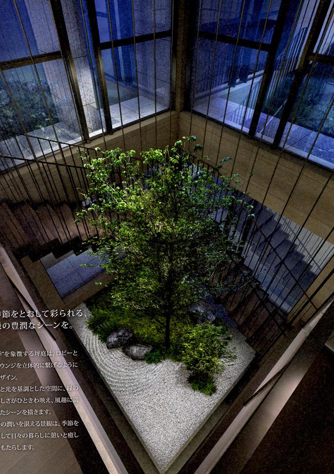 2階に上がる階段と坪庭